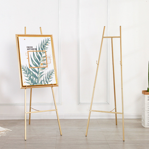 Image 4 - Golden Easel Wedding Banquet Easel Caballete De Pintura Metal Picture Stand Photo Display Frame Nordic Style Oil Painting Stand