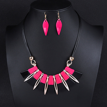 Ethnic Square Pendant Choker Necklace Earrings For Women Black Rope Arcylic Hanging Girls Party Jewelry Set