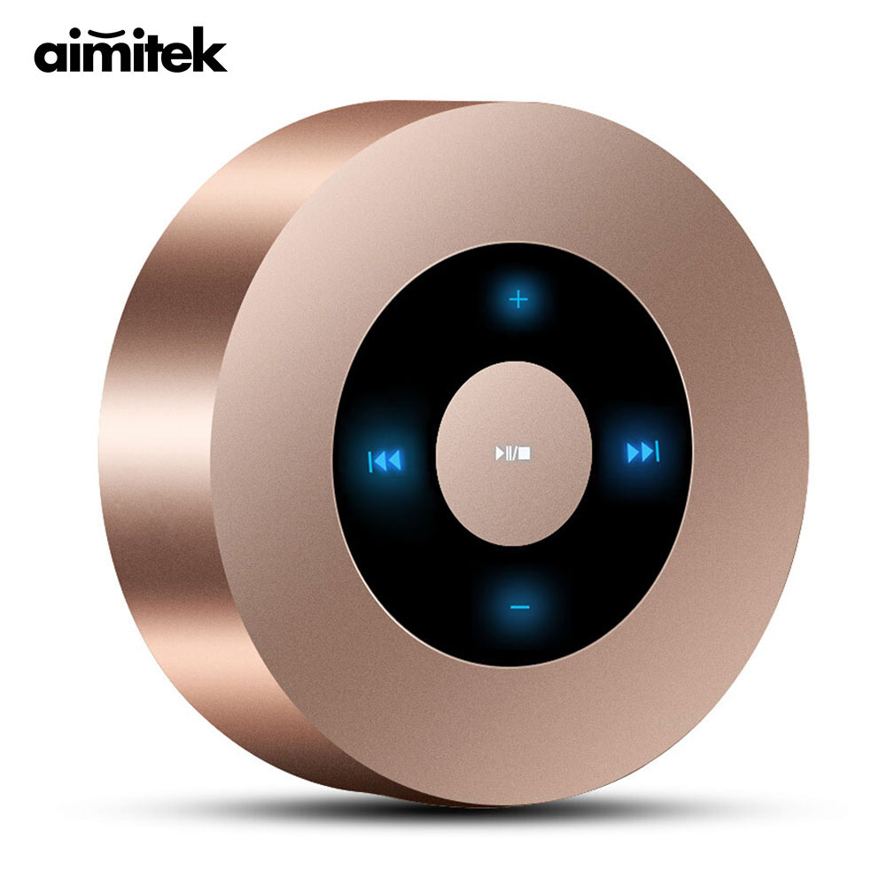 Aimitek A8 Mini Wireless Bluetooth Speaker Portable Touch Screen Stereo Subwoofer <font><b>MP3</b></font> Player with Microphone TF Card Slot AUX-in