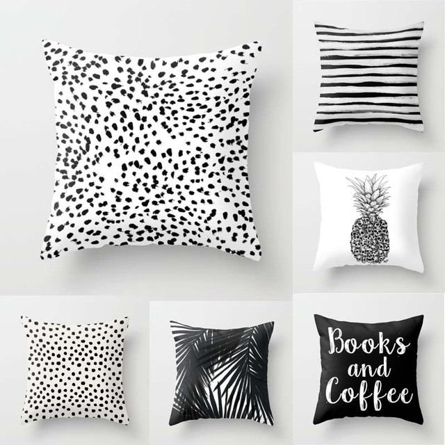 Black White Spots Stripes Pineapple Throw Pillow Cover Decorative Unique Black And White Striped Decorative Pillows