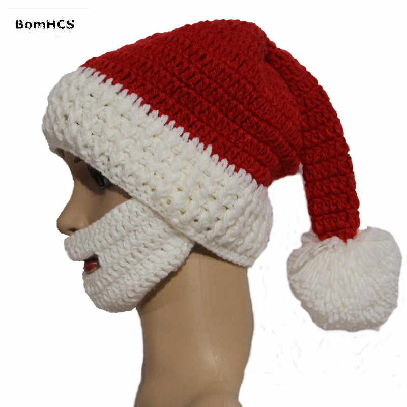 36d3669be14 ... BomHCS Funny Gift Santa Claus Hat with Big Beard 100% Handmade Knitted  Christmas Beanie Party ...