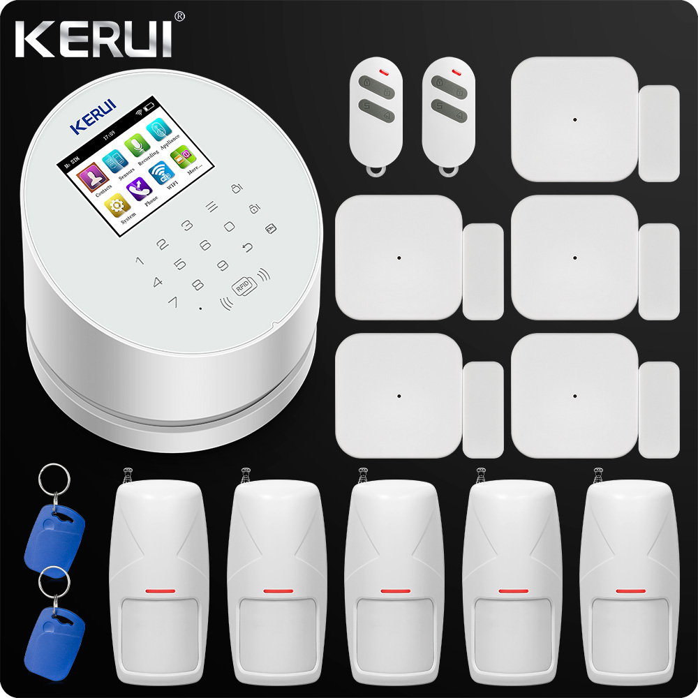 KERUI W2 WiFi GSM PSTN Home Office Security Alarm System Android IOS APP Remote Control Pet-immune Motion and door detector zx modern k9 crystal chandelier hanging wire crystal ball pendant lamp gu10 led light double entry stair living room hall lamp