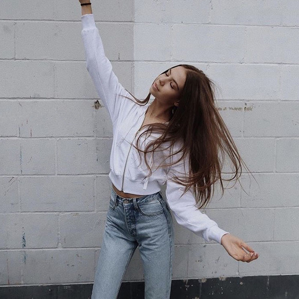 Cropped Zipper Hoodies Women Slim Harajuku Casual Blackpink Bt21 Ariana Grande Bts Kpop Tracksuit White Crop Top Hoody Clothes