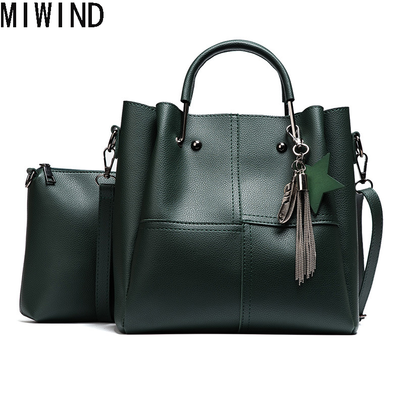 Women 2 pcs/set Handbags Women Pu Leather Bag Luxury Style Shoulder Bags Ladies  Messenger Bag High Quality Handbag  TYX1248