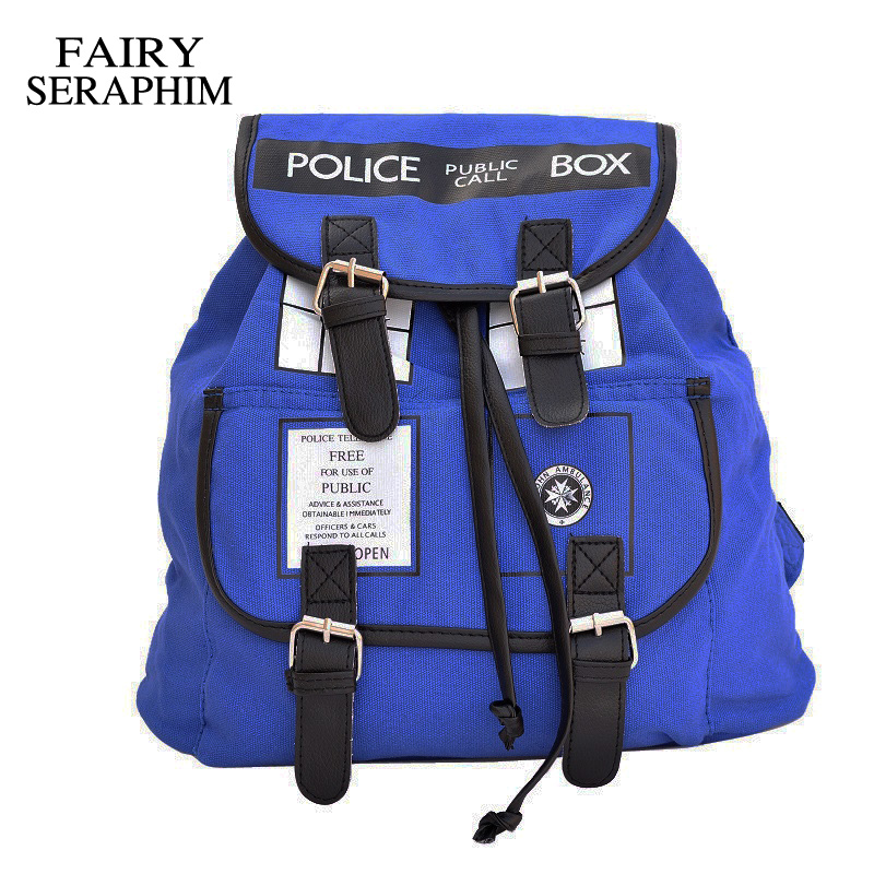 FAIRY SERAPHIM Doctor Who Canvas Printed Anime Dr Who Tardis buckle slouch School bag mochila feminina BackpackFAIRY SERAPHIM Doctor Who Canvas Printed Anime Dr Who Tardis buckle slouch School bag mochila feminina Backpack