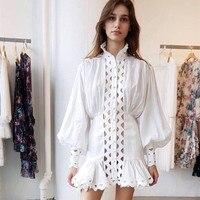 Australia Designer Brand Dress for Women Hollow Out Wave Ruffled Lantern Sleeve Stand Collar Chiffon Holiday Mini Dress White