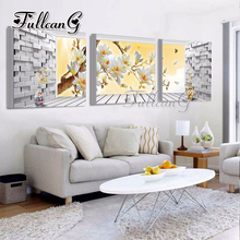 FULLCANG diy 3 pieces diamond painting orchid flowers triptych mosaic cross stitch 5d embroidery kits full square drill G1286