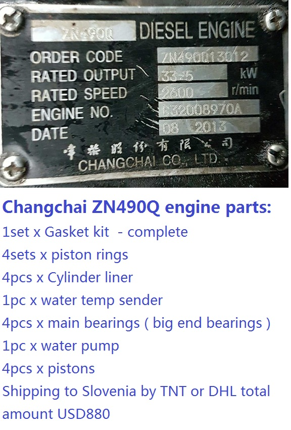 Parts for Changchai ZN490Q engine Gasket piston rings Cylinder liner main bearings water temp sender water pump pistons kubota water pump with gasket reference 15321 73032