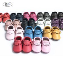 Hot selling baby moccasins high quality genuine leather baby shoes soft sole newborn baby boys girls shoes first walkers(China)