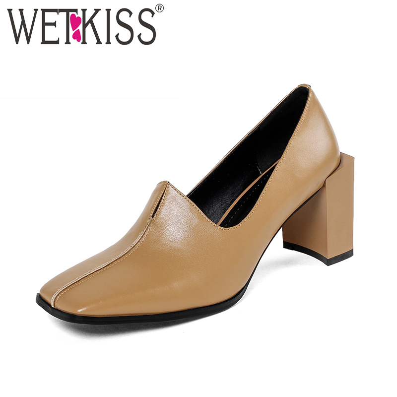 WETKISS High Heels Genuine Leather Ladies Pumps Strange Style Slip On Sewing Footwear Spring New Handmade Fashion Women Shoes isnom high heels women pumps 2018 spring fashion office ladies shoes pointed toe strange style genuine leather rivet footwear