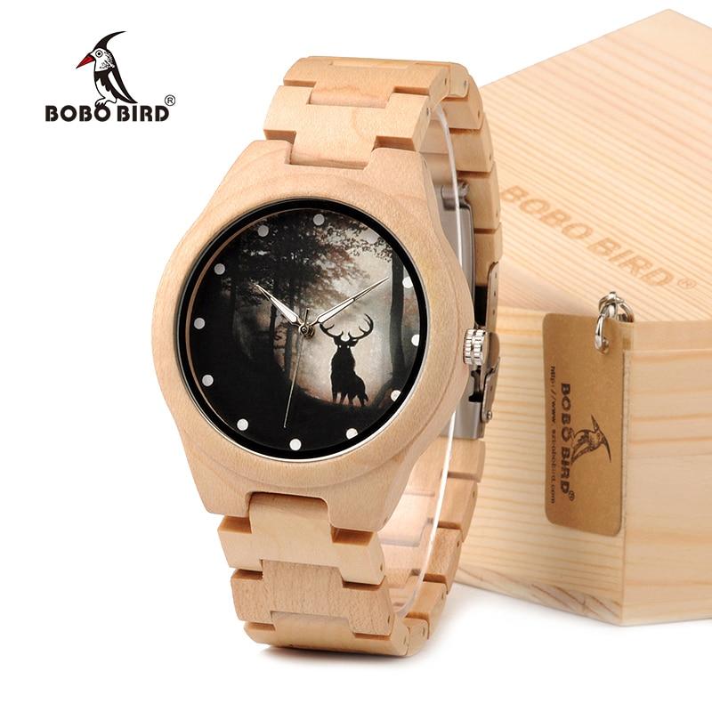 BOBO BIRD Game Of Thrones Design Mens Watches Top Brand Luxury Wooden Watches Maple Wood Band Quartz Watch
