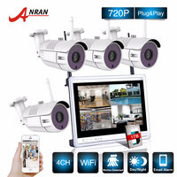 P2P CCTV 4CH NVR 12 Inch LCD Screen 36 IR Waterproof Network 720P IP Wireless Camera