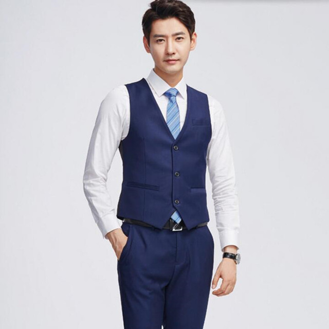 7dd7ea76855 Latest design men vest slim fit men s wedding tuxedos vest blue tailor made  formal business leisure
