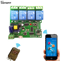 Sonoff DIY Remote Wireless Switch Universal Module 4ch DC5V12V 32V 220V Wifi Switch Timer For Smart