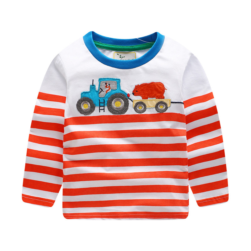 2018 new designed t shirt baby boys striped long sleeve cartoon t shirt with applique a truck kids spring autumn boy clothes ...