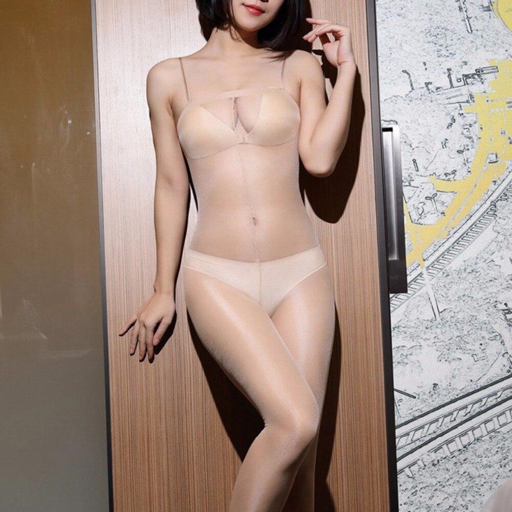 Women Oil Flashing Tights Ultra Thin Strumpfhose Shiny Gloss Collant Femme Donna Strap Pantyhose Transparent Collants