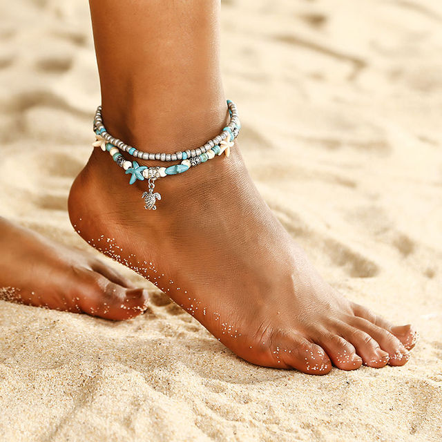 b064123df Bohemian style layered Starfish ankle beads chain anklet vintage sea turtle  anklet beach Shell Charm Bracelet Boho jewelry ns15