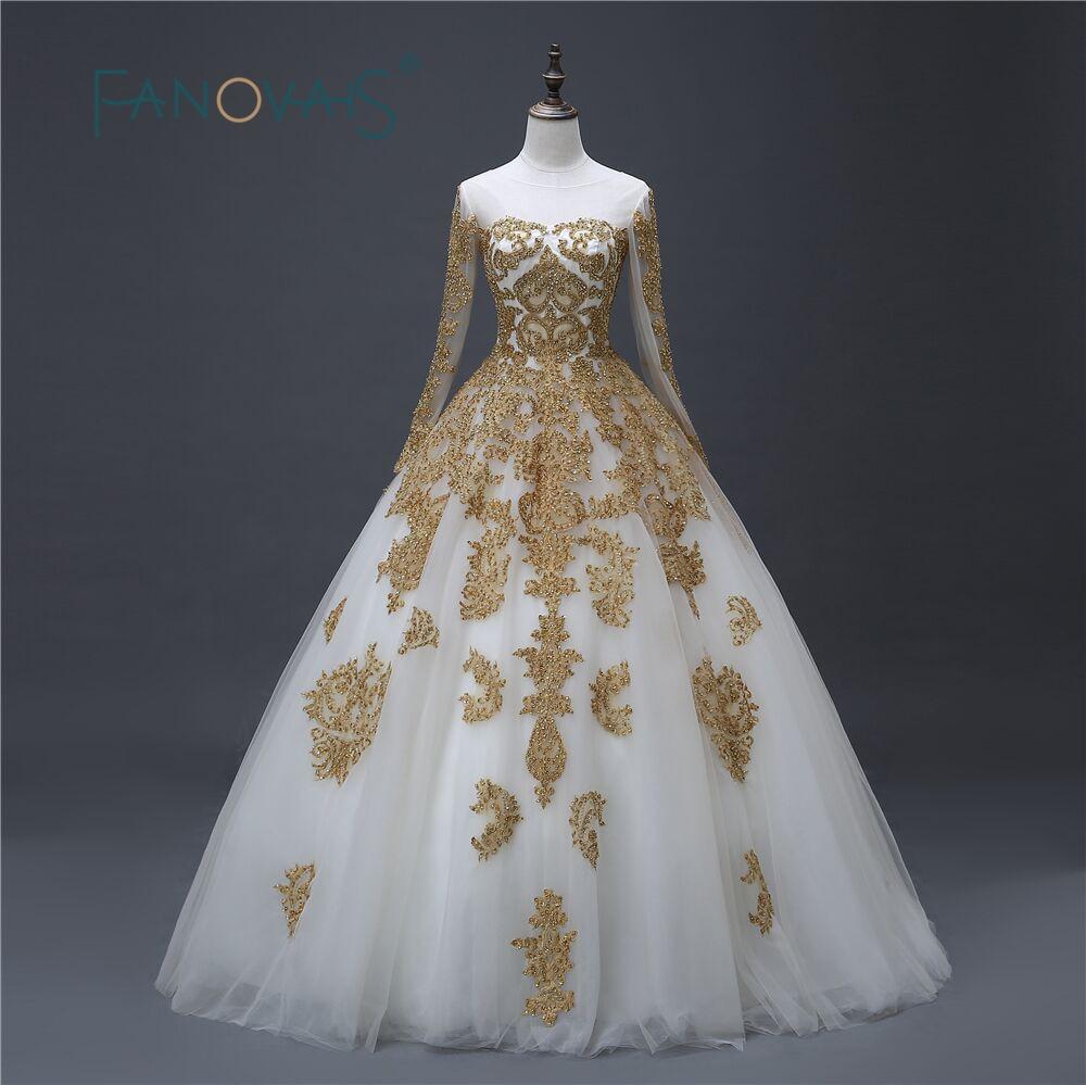 Arany esküvői ruha 2017 csipke menyasszonyi ruhák hosszú ujjú Vintage labda ruha Vestido de Festa robe de mariee Lucurious ruha