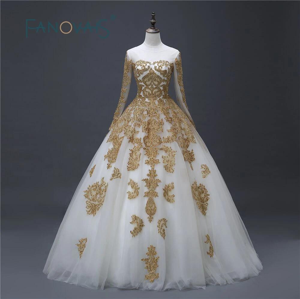 Gold Wedding Dress 2019 Lace Bridal Gowns Long Sleeves Vintage Ball Gown Vestido De Festa Robe De Mariee Lucurious Dress Gold Wedding Dress Wedding Dress 2017bridal Gowns Long Sleeves Aliexpress