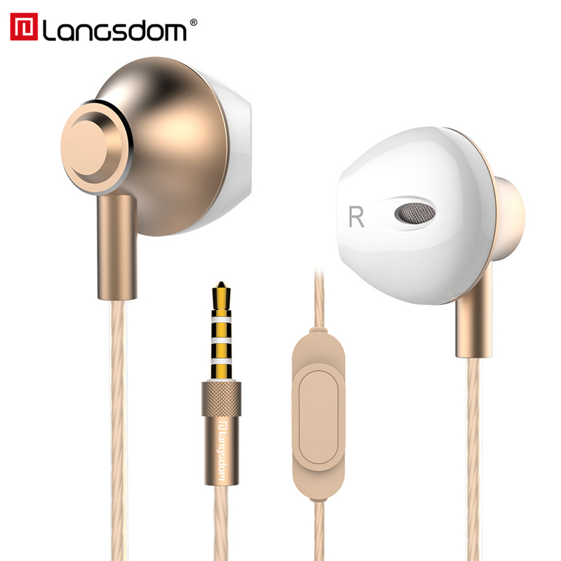 Langsdom Phone Earphone Gold Plated Housing Headset with Microphone 3.5mm in ear Stereo Earbuds for Xiaomi Huawei fone de ouvido
