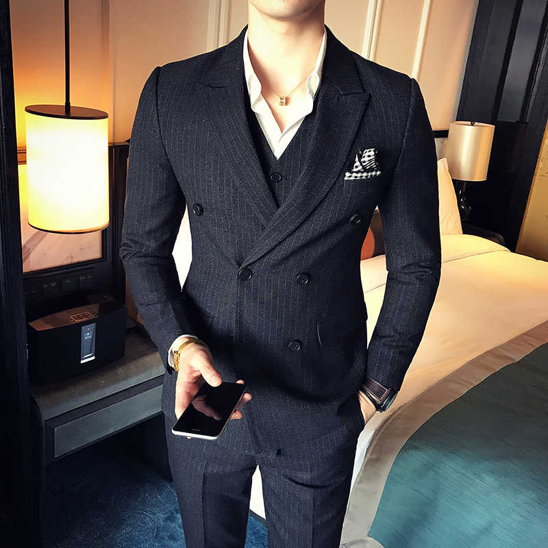 2019 spring and autumn new slim striped fabric men's casual fashion business dress high-quality self-cultivation double-breasted