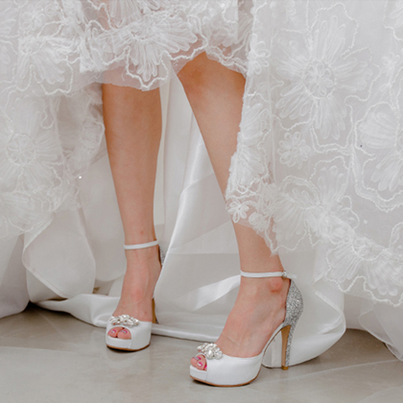 d7e524583e7 Genuine Leather Peep Toe White High Heels Buckle Strap Bridesmaid Shoes  Silver Sequined Wedding Dress Shoes Fashion Party Pumps-in Women s Pumps  from Shoes ...