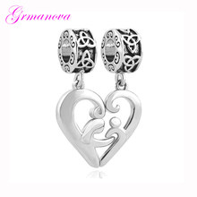Mother and child heart-shaped pendant Celtic knot pattern European big hole charm beads Fit Pandora Bracelet Women's DIY Jewelry(China)