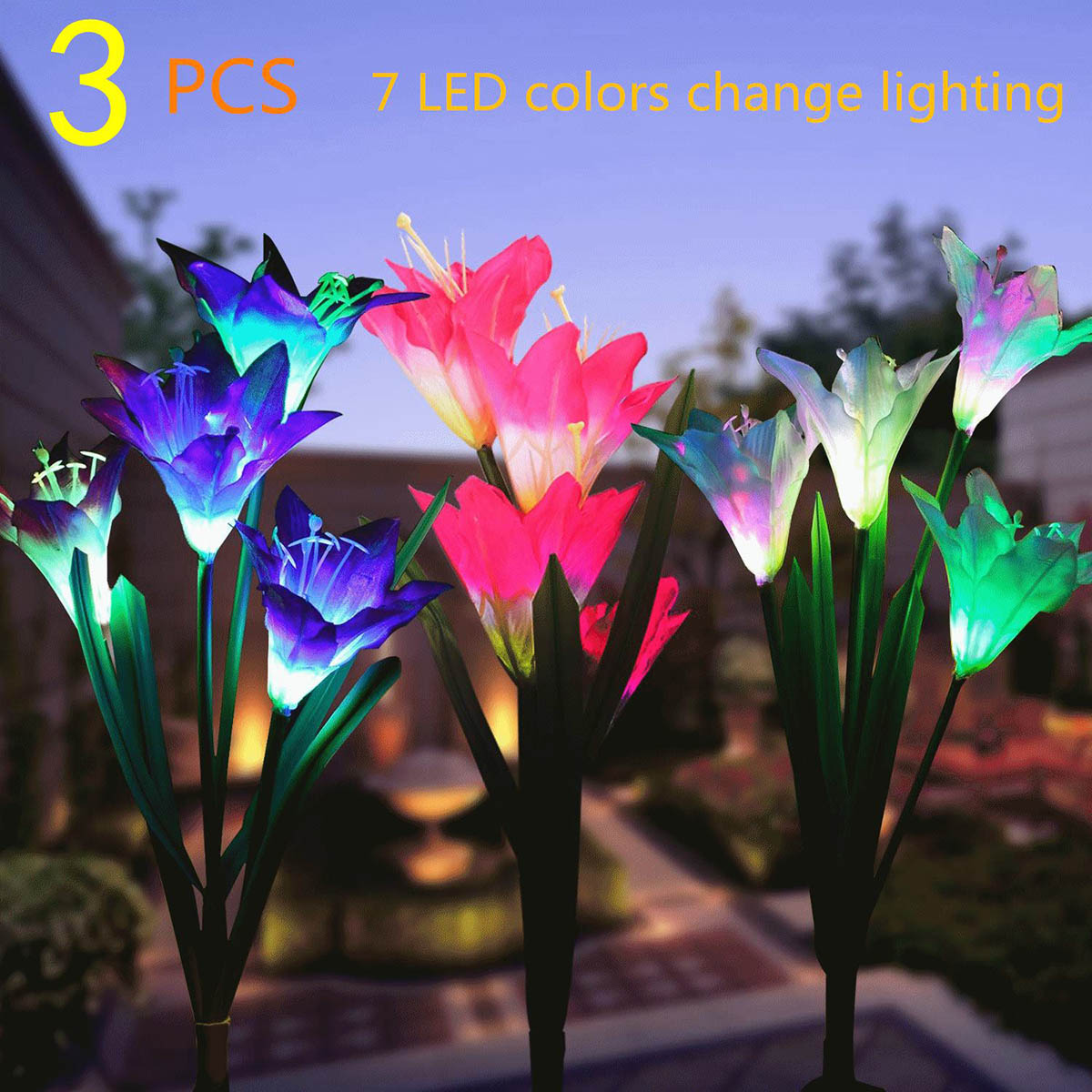 Garden Solar Lights Color Changing LED Solar Stake Lights With 12 Lily Flower For Patio Backyard 3-pack