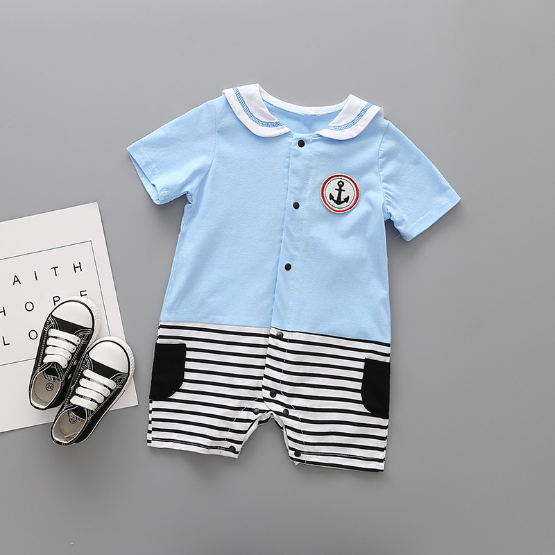 Baby clothing boy girl infant romper short sleeve 2018 summer lapel newborn Stripe cotto ...