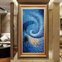 Azul mão arte da parede moderna varanda corredor murais pintura a óleo sobre tela seascape imagem de peixes no oceano profundo para Villa hotel