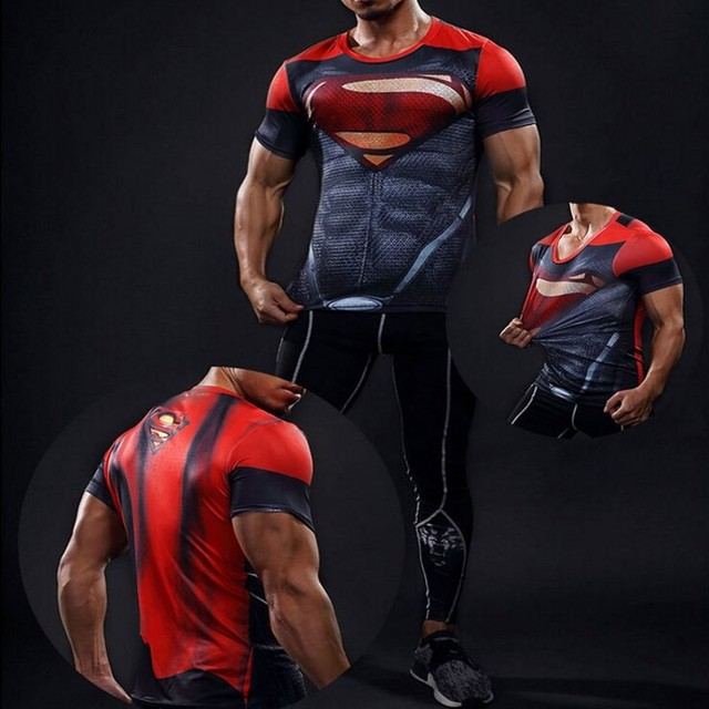 Superhero Batman Men Short Sleeve Compression Fitness T-shirt