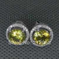 Fine Jewelry круглый 7 мм Природные Перидот золотые серьги одноцветное 14Kt белого золота Серьги с алмазами для Для женщин WE004