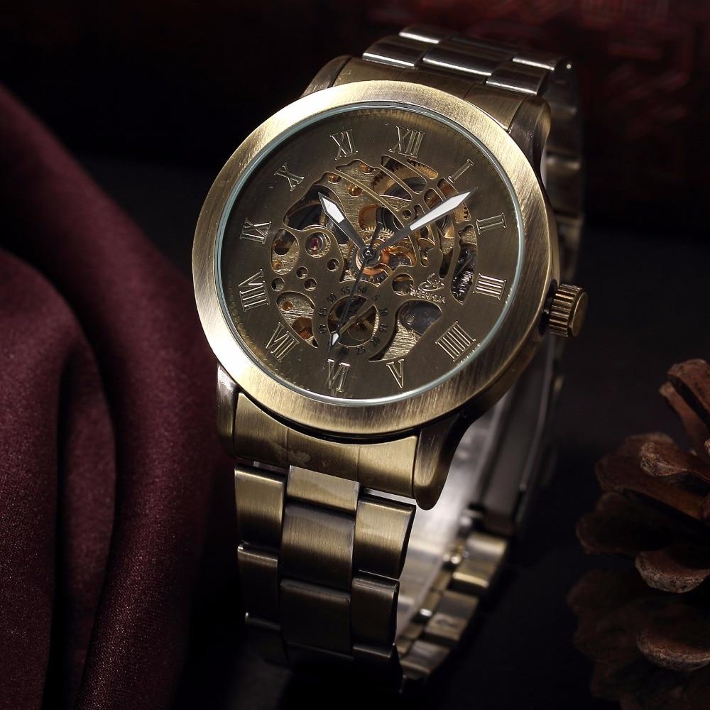 Image 5 - SHENHUA Роскошные брендовые бронзовые Мужские механические часы с скелетом, мужские часы с ремешком из нержавеющей стали, модные повседневные автоматические часы-in Механические часы from Ручные часы on AliExpress - 11.11_Double 11_Singles' Day