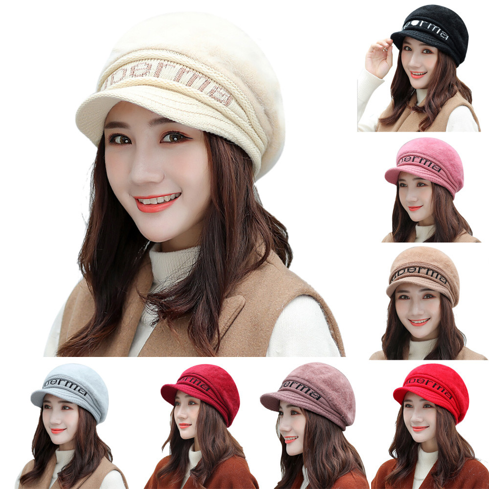 b58c6eeb3b44c Women female fashion bowknot knitted letter print hat winter warm beret  baggy beanie hat slouch ski
