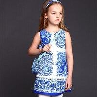 WL MONSOON Baby Girls Dresses Winter 2015 Luxury Brand Children Dress Princess Costume Blue Majolica Kids