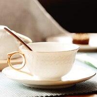 Embossed Crafts European Coffee Cup Set British Coffee Cup and saucer Black Tea Ceramic tea set