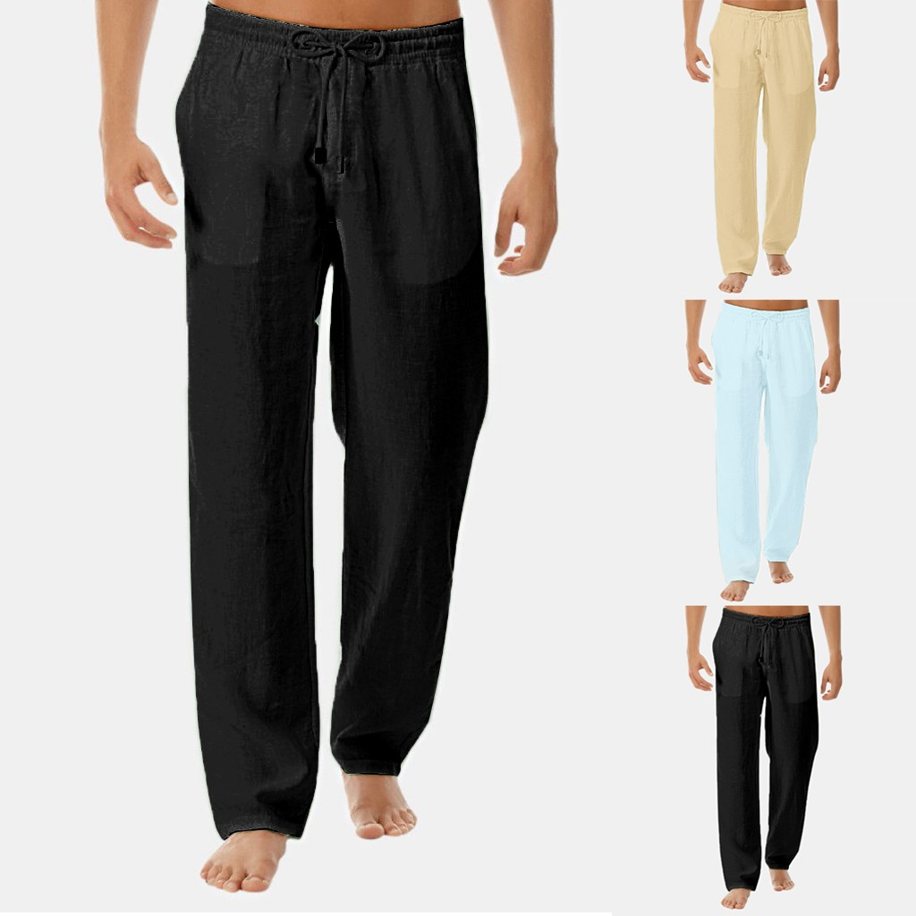 Casual Men's Simple Trousers Men's Summer New Simple Fashion Cotton Linen Trousers Straight Full Length Pants