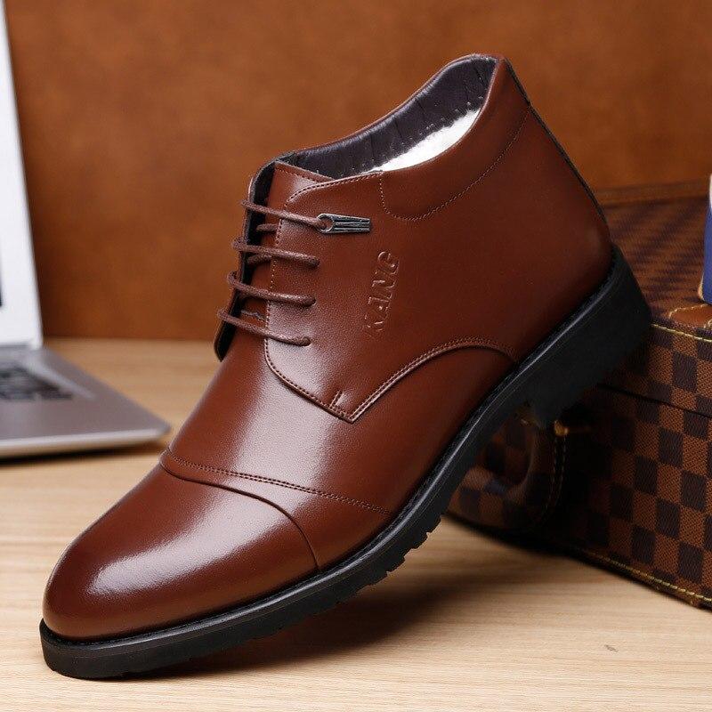 Haute Cheville Qualité Neige Main Bottes Chaussures marron Chaud En D'affaires Noir Cuir Dwayne Hommes D'hiver Pour Robe Nouvelle nPvBwx8q0