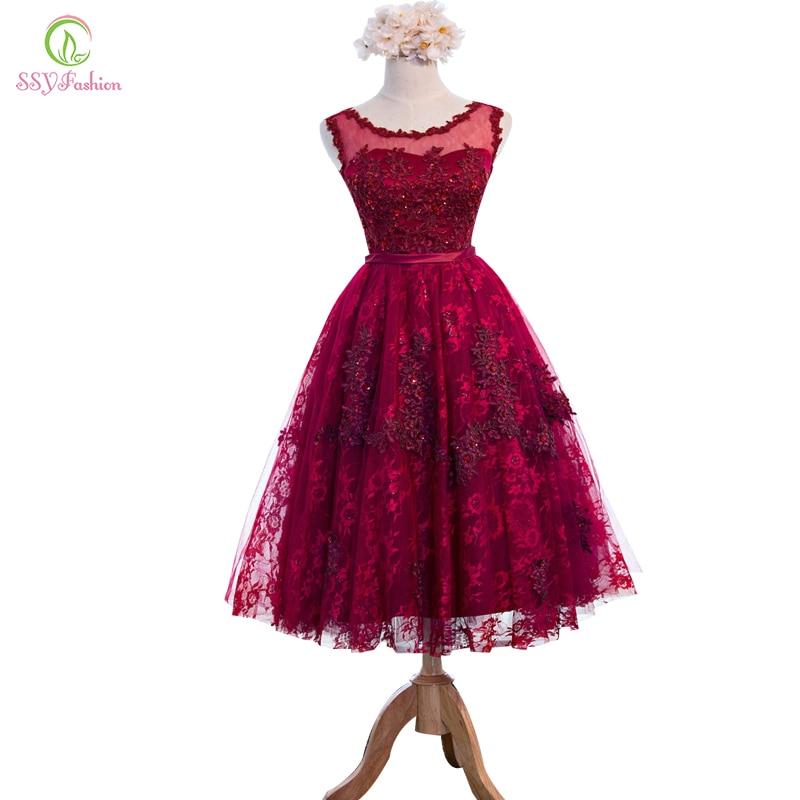 Новый ssyfashion цвет красного вина кружевное платье с цветочным рисунком Бисер без рукавов длинное вечернее платье нестандартного банкет неве...