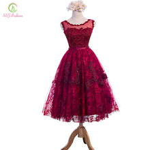 New SSYFashion Wine Red Lace Flower Beading Sleeveless Long Evening Dr
