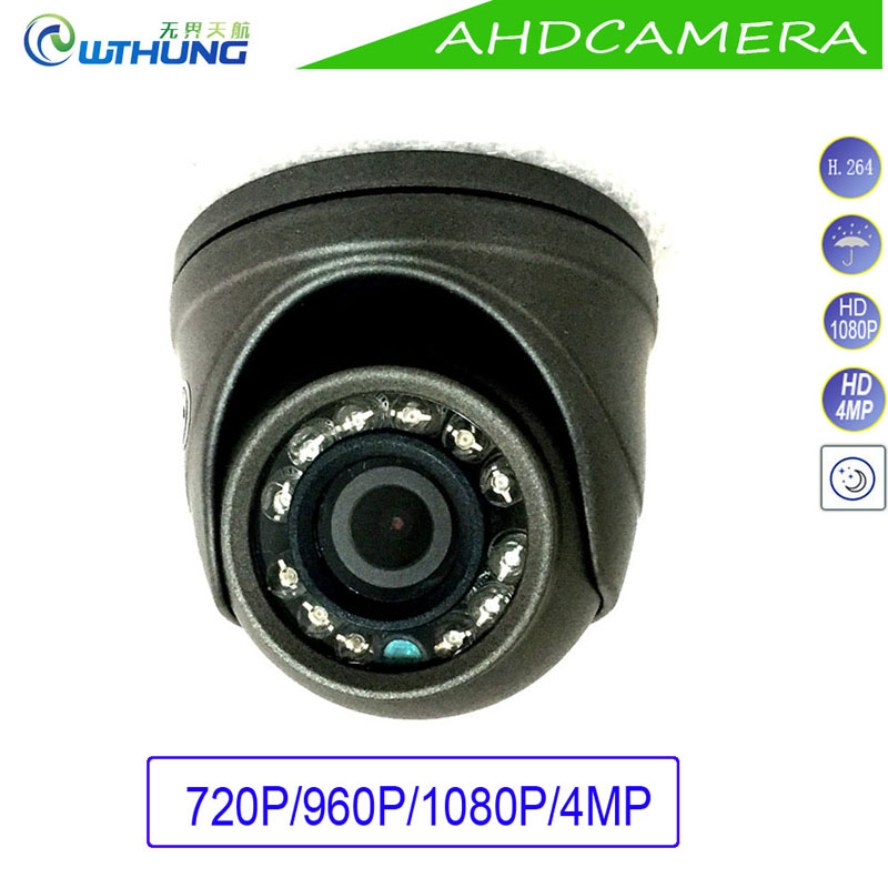 4Pcs a Lot Mini Dome Camera Metal Case AHD 1.0MP 1.3MP 2MP 4MP Indoor/Outdoor Waterproof IR Cut filter Night Vision CCTV Monitor 4pcs lot 960p indoor night version ir dome camera 4 in1 camera 3 6mm lens p2p onvif abs plastic housing