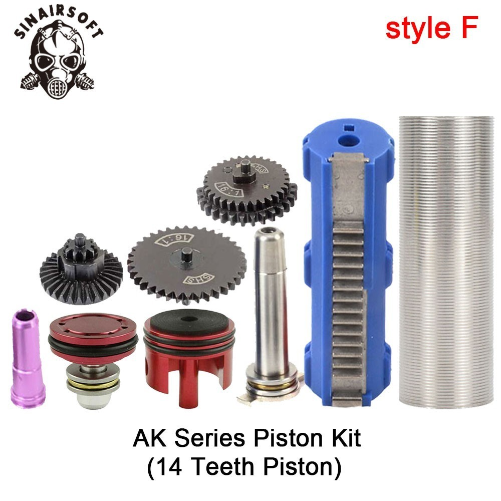 SHS-16-1-Gear-Nozzle-Cylinder-Spring-Guide-14-Teeth-Piston-Kit-Fit-Airsoft-M4-M16 (5)