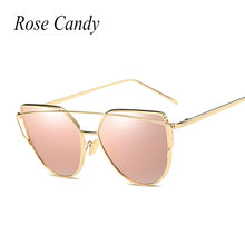 Rose candy Women Brand Designer Cat Eye Mirror Sunglasses Rose Gold super star Lady Fashion Sun Glasses Female 2017 Newest