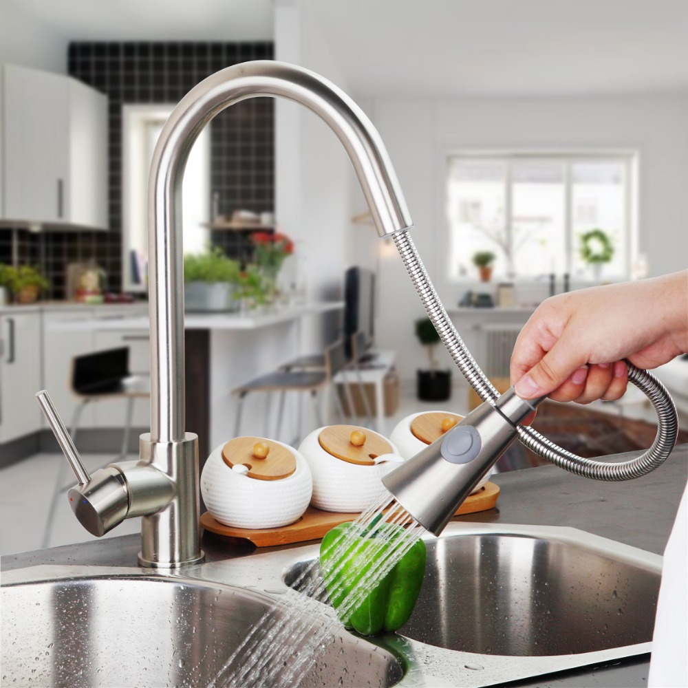 compare prices on pullout kitchen faucet online shopping buy low deluxe brushed nickel pull out dual spray kitchen faucet mixer tap pullout sprayer kitchen faucet hot cold