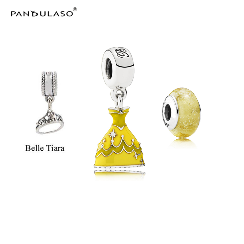 Pandulaso Belle's Dress & Crown & Glass Beads Fit Charms Silver 925 Original Bracelets Cartoon Charms for DIY Jewelry Making