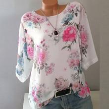 Women Floral Print T-Shirt Slash Neck Pullover Tops Shirt Plus Size Loose poleras de mujer moda Lady Tops tee shirt femme цена