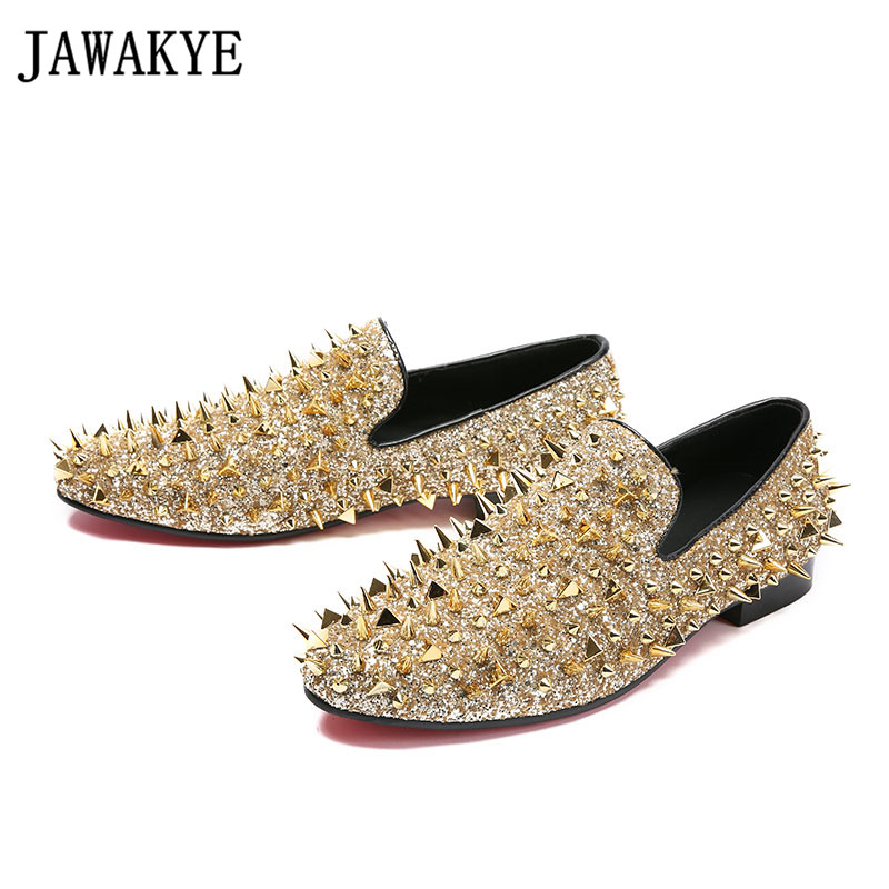 Spring autumn Shiny dress shoes for men spiked rivets studded slip on loafers gold black bling