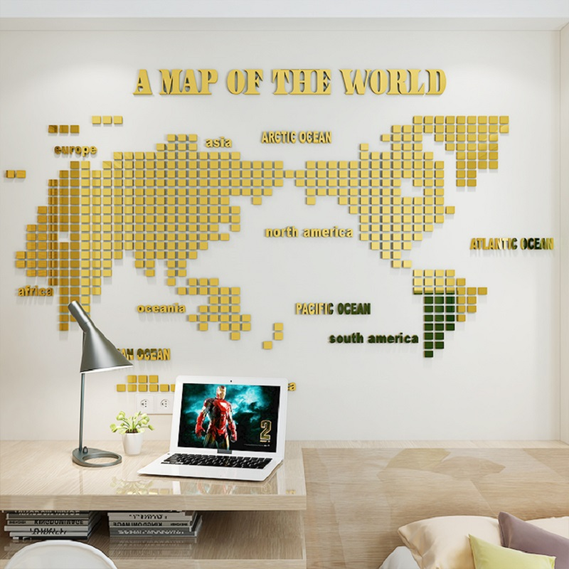 Creative Mosaic World Map Acrylic 3d Self adhesive Mirror Wall Sticker Living room background wall golden decorative painting in Wall Stickers from Home Garden
