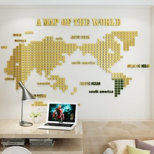 Creative Mosaic World Map Acrylic 3d Self-adhesive Mirror Wall Sticker Living room background wall golden decorative painting