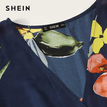 SHEIN Plus Size Navy Surplice Wrap Belted Floral Print Deep V Neck Romper 2019 Women Summer Boho Butterfly Sleeve Knot Playsuit